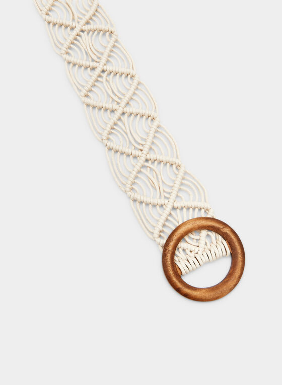Open Weave Braided Belt, Brown, hi-res