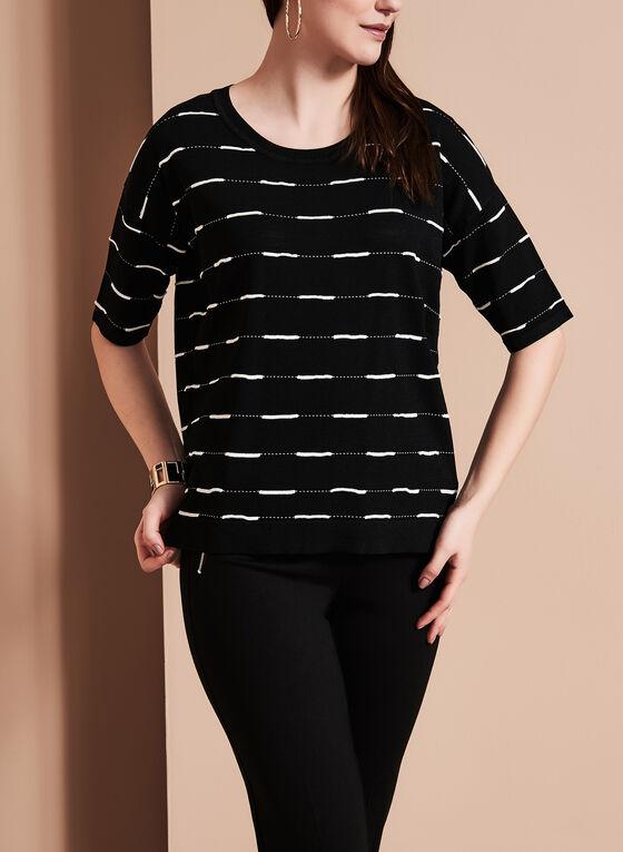 Elena Wang - Stripe Print Knit Top, Black, hi-res