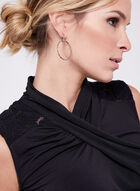 Drape Neck Jersey Top , Black, hi-res
