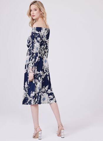 Maggy London - Off The Shoulder Jersey Dress, Blue, hi-res