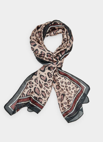 Vince Camuto - Foulard à imprimé léopard, Violet,  bordures contrastantes, foulard long, foulard léger, automne hiver 2019