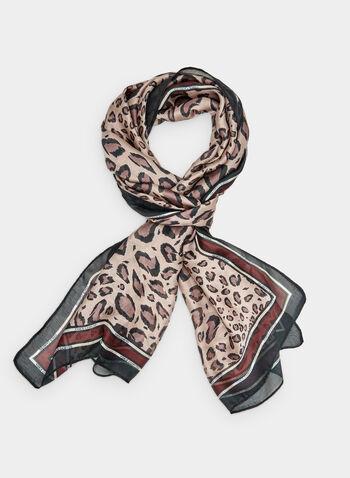 Vince Camuto - Leopard Print Scarf, Purple,  leopard print, animal print, long scarf, contrast trim, fall 2019, winter 2019