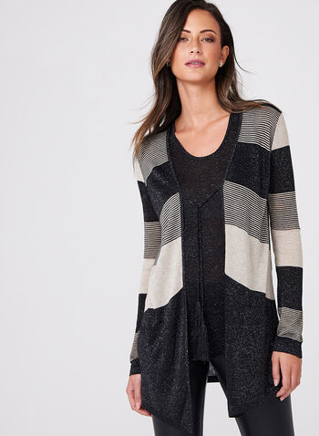Metallic Cardigan & Tank Top Set , Black, hi-res