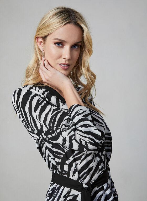 Tunique motif animalier en mousseline, Blanc