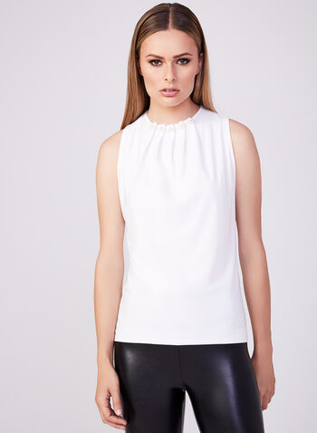 Sleeveless Pearl Detail Pintuck Blouse, Off White, hi-res