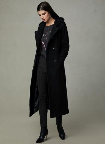 Anne Klein - Manteau long en laine et cachemire, Noir, hi-res