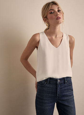 Sleeveless Crepe Blouse, Off White,  blouse, top, sleeveless, V-neck, crepe, spring 2020