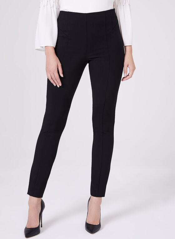 High Rise Slim Leg Pants, Black, hi-res