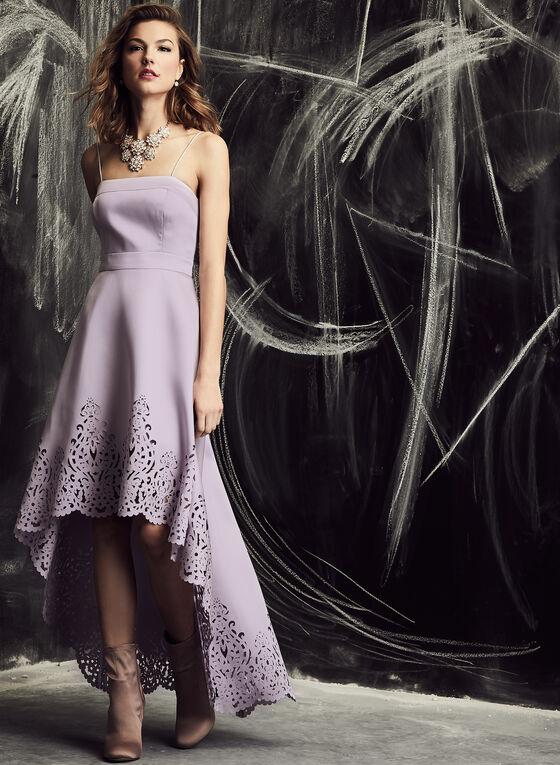 Nicole Miller - Robe asymétrique à bretelles et motif ajouré, Violet, hi-res