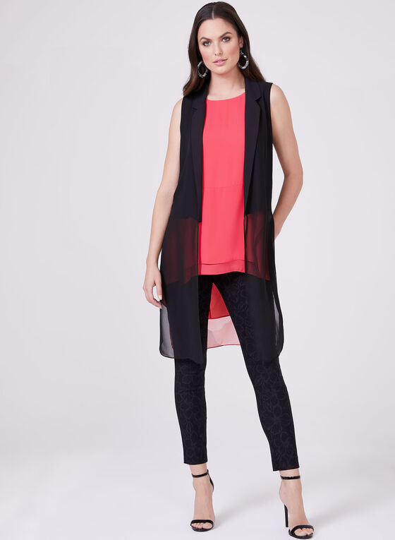 Sleeveless Open Front Top, Black, hi-res