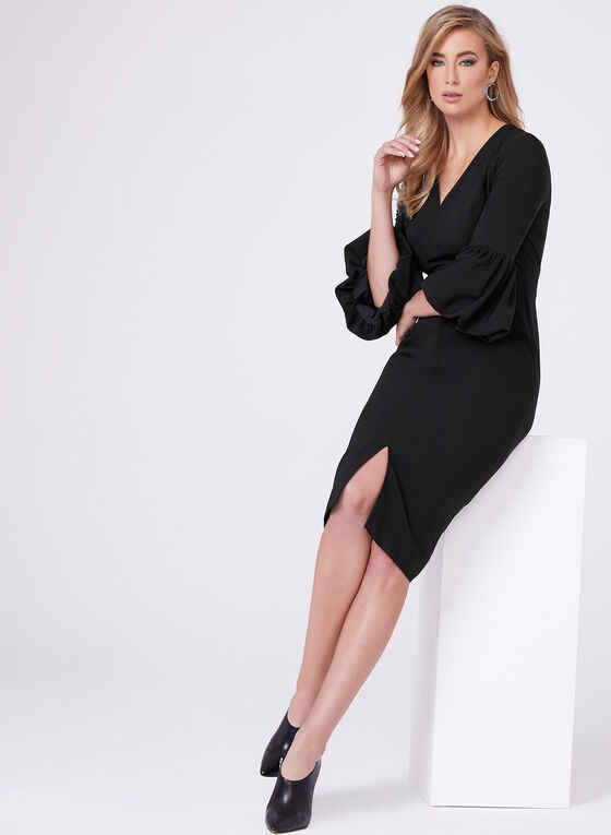 Maggy London - Bell Sleeve Crepe Dress, Black, hi-res