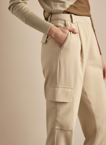 Vince Camuto - Straight Leg Cargo Pockets Pants, Brown,  pants, straight leg, cargo, high waist, lightweight, spring 2020, summer 2020