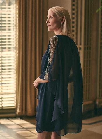 BA Nites - Robe poncho à manches ornementées, Bleu,  robe cocktail, robe, poncho, mousseline, billes, perles, encolure dégagée, col dégagé, superposition, printemps été 2021