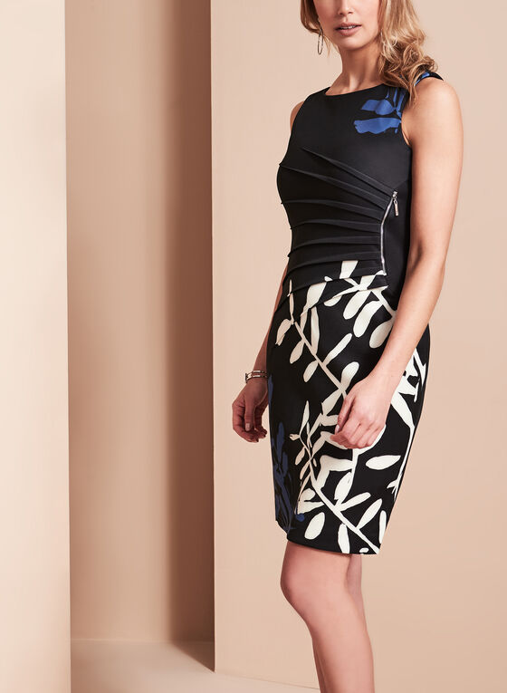 Ivanka Trump Printed Scuba Dress, Black, hi-res