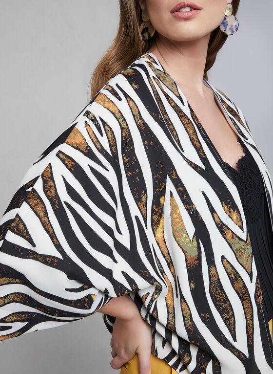 Animal Print Kimono Blouse, White, hi-res