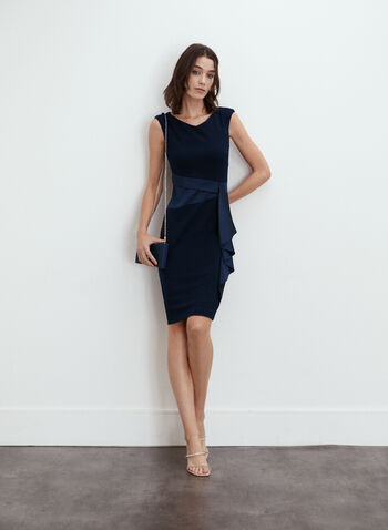 Joseph Ribkoff - Side Flounce Dress, Blue,  made in Canada, Joseph Ribkoff, Frank Lyman, cocktail dress, dress, sleeveless, flounce, fitted, satin, fall winter 2021