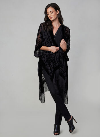 Vince Camuto - Velvet Burnout Kimono, Black,  Vince Camuto, kimono, velvet burnout, fringes, fall 2019, winter 2019