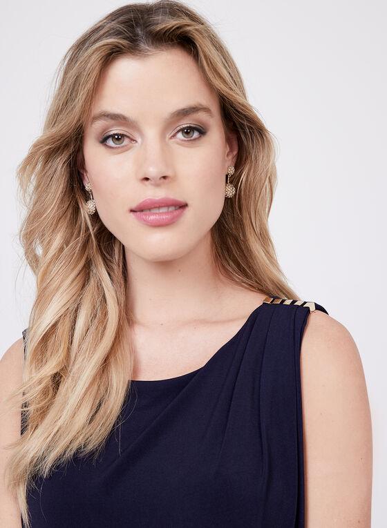 Kensie - Robe à effet drapé et détails bijoux , Bleu, hi-res