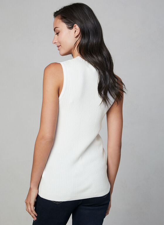 Sleeveless Ribbed Knit Top, Off White