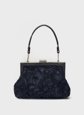 Embroidered Floral Detail Handbag, Blue, hi-res