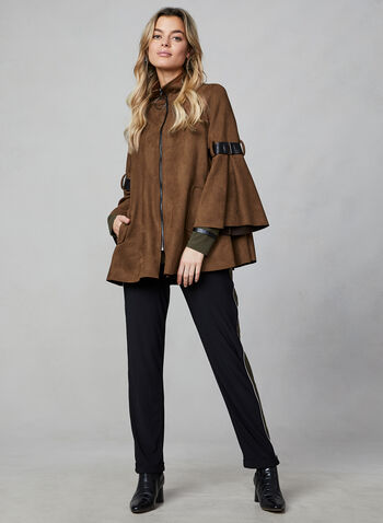 Joseph Ribkoff -  Faux Suede Coat, Brown, hi-res,  coat, faux suede, flared sleeves, faux leather belt, joseph ribkoff, fall 2019, winter 2019