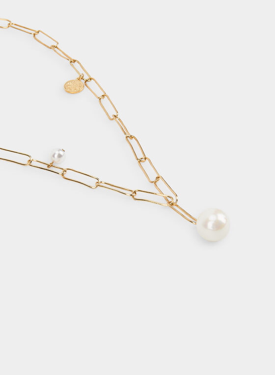 Pearl Pendant Necklace , Off White, hi-res