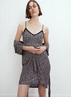 Leopard Print Nightgown Set, Black