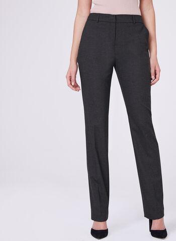 Louben - Pantalon à jambe droite aspect flanelle, Gris, hi-res
