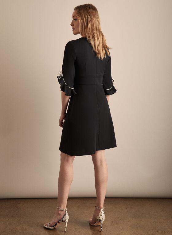 Contrast Detail Crepe Dress, Black