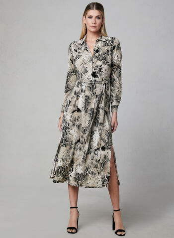 Frank Lyman - Snake Print Dress, Brown, hi-res