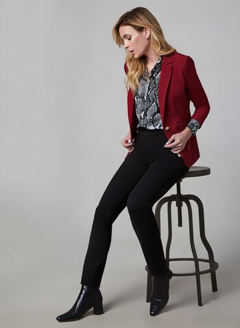 Notch Collar Blazer, Red, hi-res,  one button blazer, tailored, workwear, long sleeves, fall 2019, winter 2019