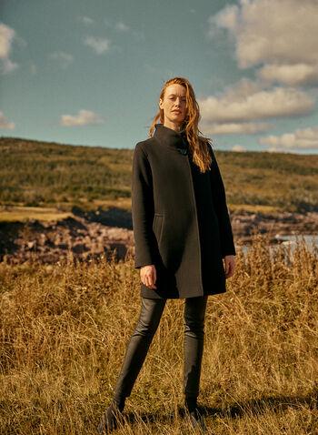 Mallia - Wool & Cashmere Blend Coat, Black,  coat, high collar, pockets, wool, cashmere, fall winter 2020