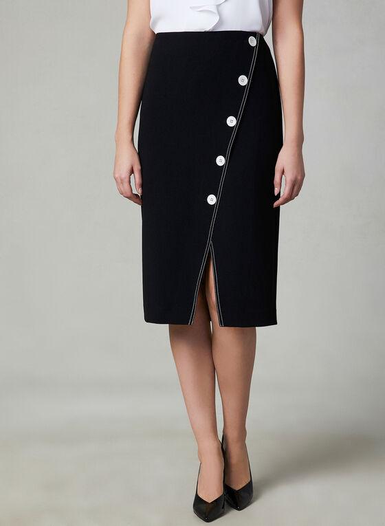 Jupe à coutures et boutons contrastants, Noir, hi-res