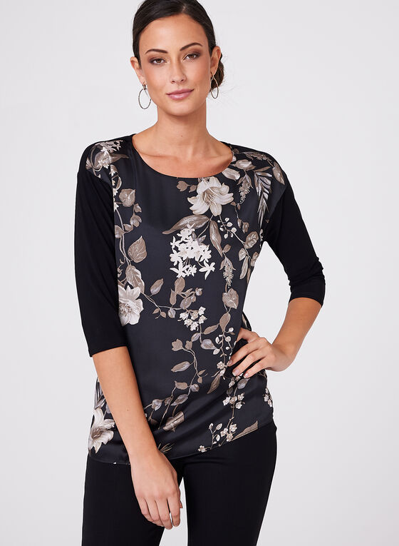 Floral Print ¾ Sleeve Top, Brown, hi-res