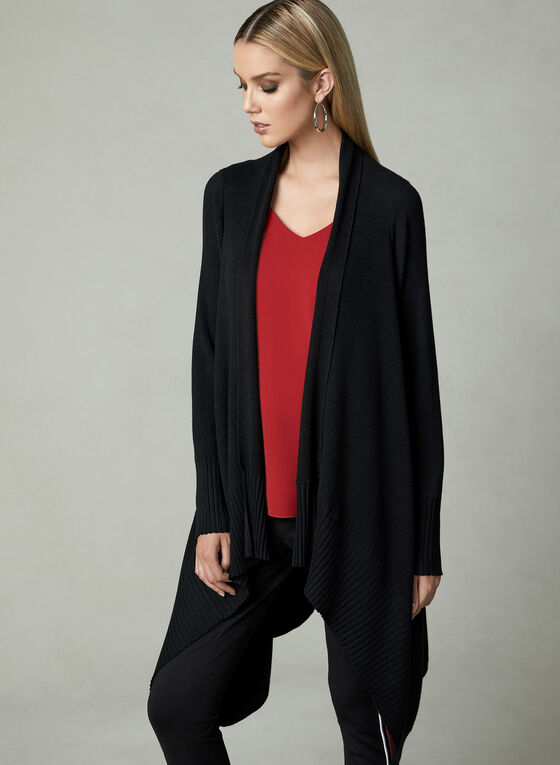 Open Front Knit Cardigan, Black, hi-res