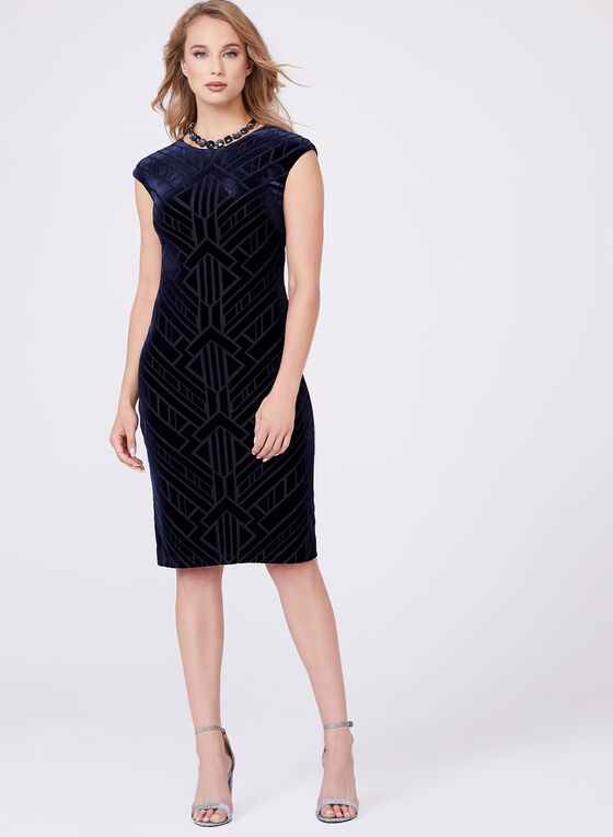 Vince Camuto - Extended Sleeve Velvet Dress, Blue, hi-res