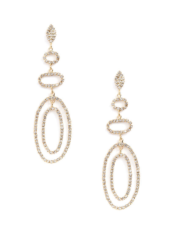 Tiered Crystal Chandelier Earrings, Gold, hi-res