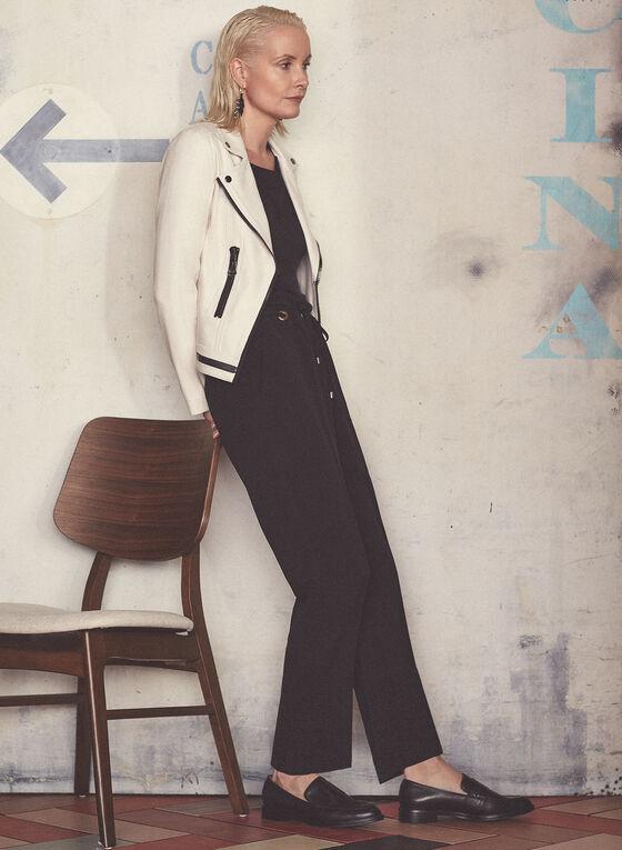 Pantalon droit avec lien à nouer, Noir, hi-res