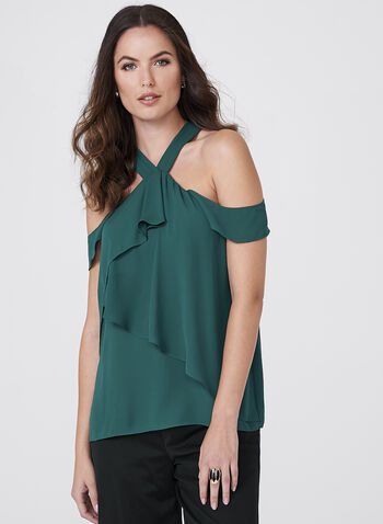 Cold Shoulder Crepe Top, Green, hi-res