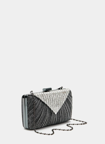Crystal Embellished Clutch, Grey, hi-res