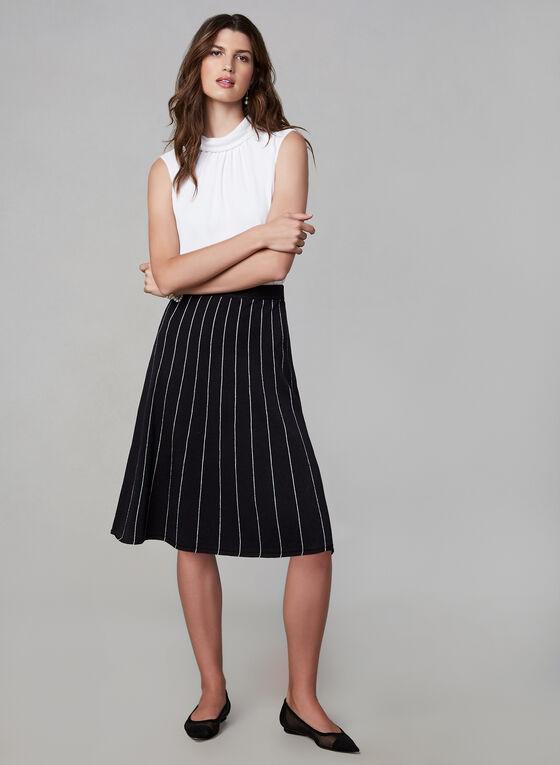 Jupe coupe A à coutures contrastantes, Noir