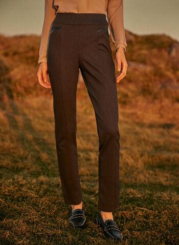 Pantalon Madison à enfiler à motif écorce, Gris,  automne hiver 2021, pantalon, pantalon à enfiler, coupe Madison, modèle pull-on, jambe étroite, taille haute, détails coutures, fausses poches, bordure en similicuir, motif, imprimé, écorce