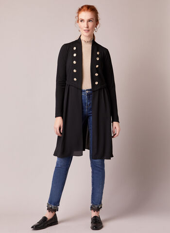 Military Style Open Front Top, Black,  top, open front, long sleeves, military, button details, fall winter 2020