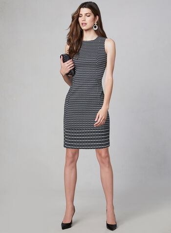 Kensie - Jacquard Sheath Dress, Black, hi-res,  Fall winter 2019, Geometric print, back zipper, jacquard