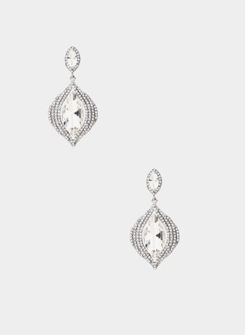 Stone Dangle Earrings, Silver, hi-res,  dangle earrings, eye-shaped stone, crystal pavé border