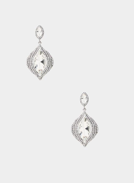 Boucles d'oreilles à cristaux et pierres, Argent, hi-res