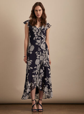 Maggy London - Floral Print Ruffle Detail Dress, Blue,  day dress, floral, ruffled, chiffon, tulip, cap sleeves, spring summer 2020