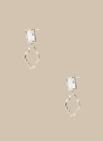 Boucles d'oreilles à pendant ajouré en cristal, Or,  boucles d'oreilles, trèfle, ajouré, pierre rectangulaire, cristal, printemps été 2020