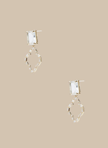 Open Clover Bottom Earrings, Gold,  earrings, open earrings, rhinestones, stones, rhinestone earrings, spring 2020, summer 2020