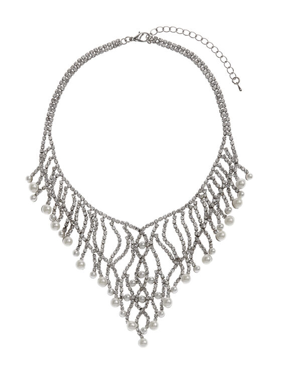 Crystal & Pearl Bib Necklace, Off White, hi-res
